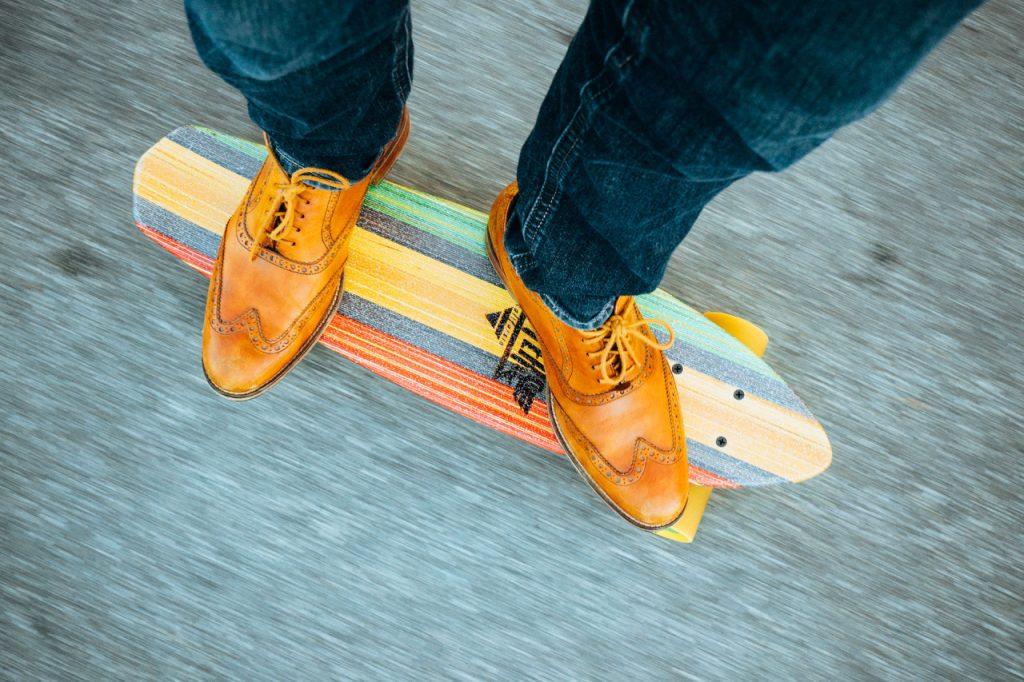 Skater in elegant shoes